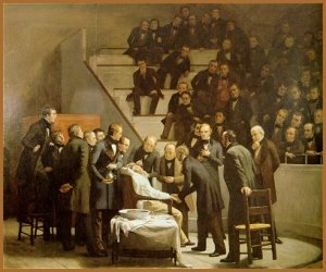 The first public demonstration of inhaled ether as a surgical anesthetic on October 16th, 1846 at the Massachusetts General Hospital in Boston